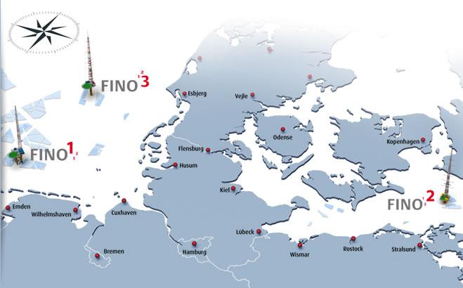 Karte Ostseeküste Deutsch.Startseite Fino1 2 3 Forschungsplattformen In Nord Und Ostsee